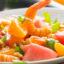 Необычный салат с арбузом и чесноком