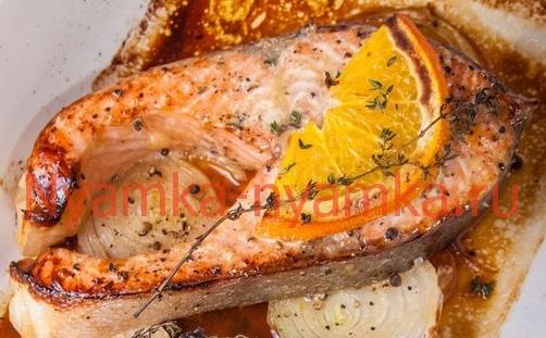 Семга (стейк) в апельсиновом маринаде