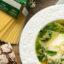 Простой суп со шпинатом и пастой